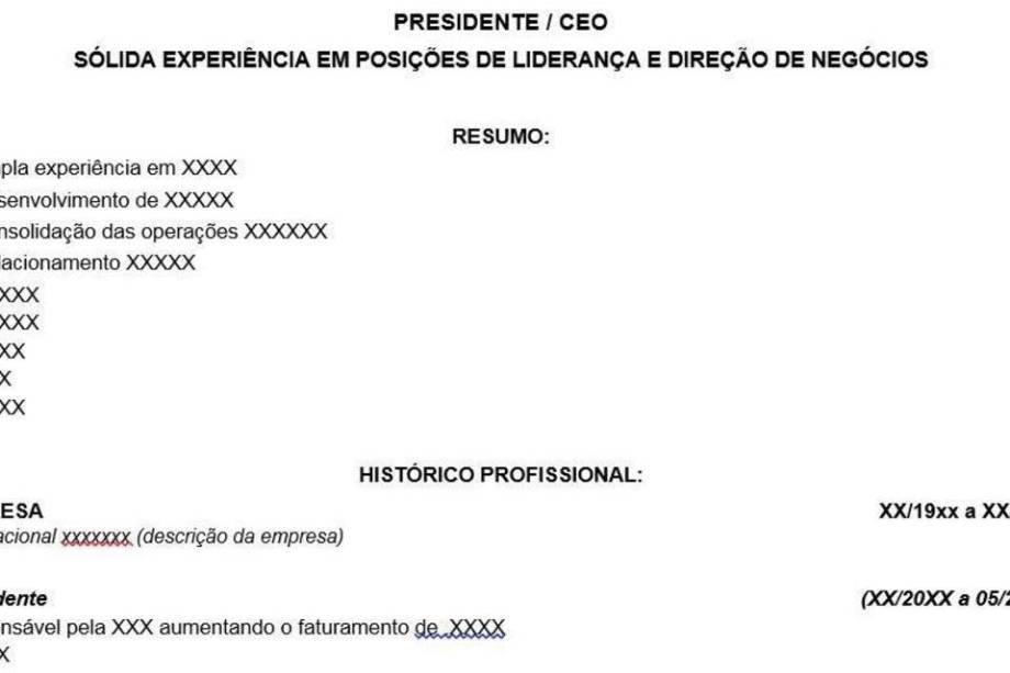 Modelos de currículo CEO Presidente