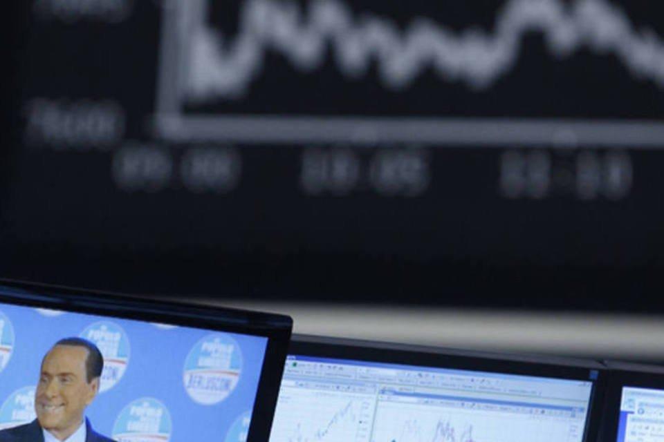 Imagem de Berlusconi aparece na frente do índice da bolsa alemã
