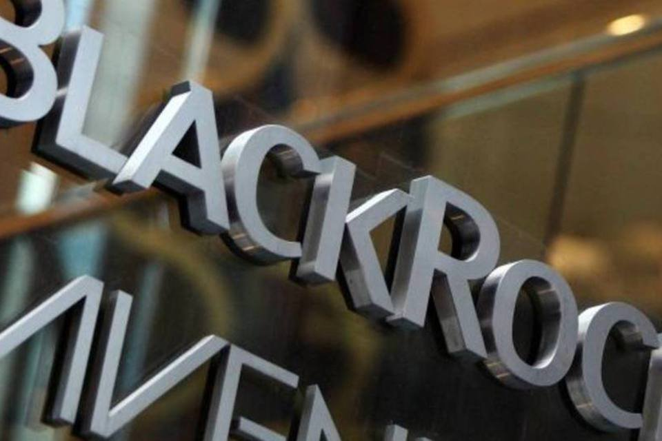 Logotipo da gestora BlackRock em um prédio de Nova York