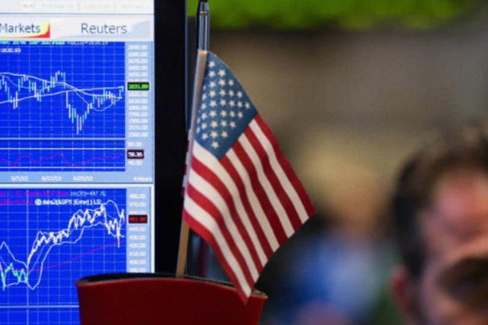 Bandeira dos Estados Unidos na Bolsa de Nova York