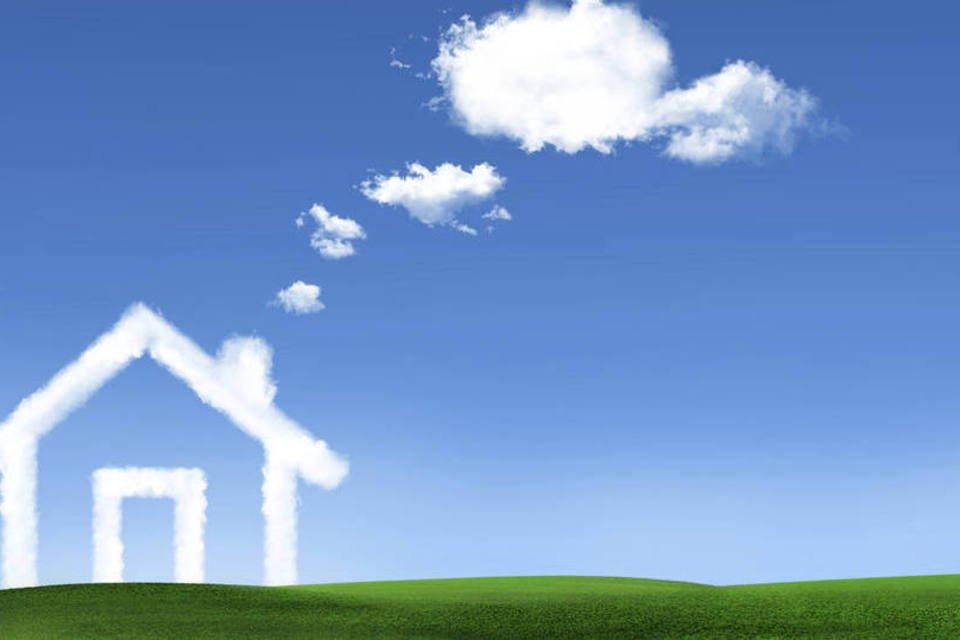 Nuvem em formato de casa, representando o sonho da casa própria