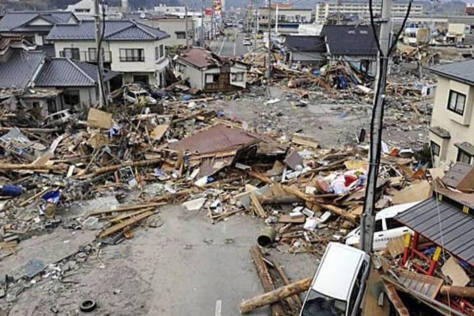 Destruição na cidade de Iwate, no Japão