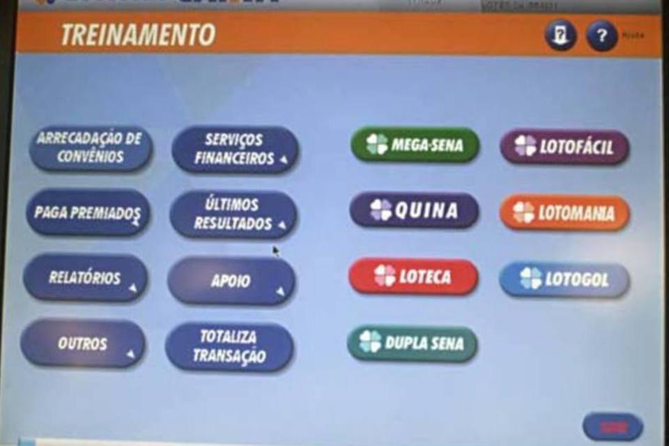 Tela que mostra o sistema das loterias da Caixa