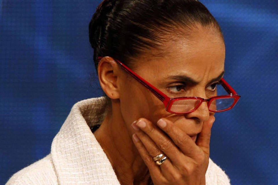 Marina Silva, candidata à eleição presidencial pelo PSB em debate na rede de televisão Bandeirantes no dia 26 de agosto de 2014