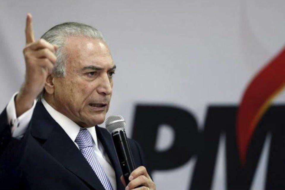 Vice-presidente da República e presidente do PMDB Michel Temer durante evento do partido em Brasília