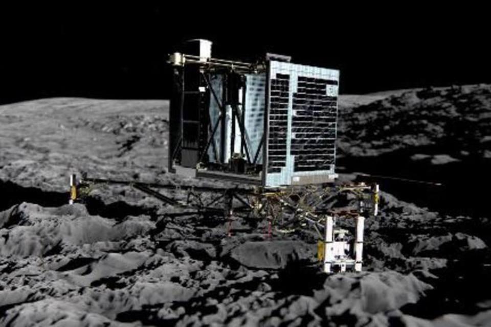O módulo de exploração Philae, acoplado à sonda não tripulada Rosetta, é visto em imagem divulgada pela Agência Espacial Europeia