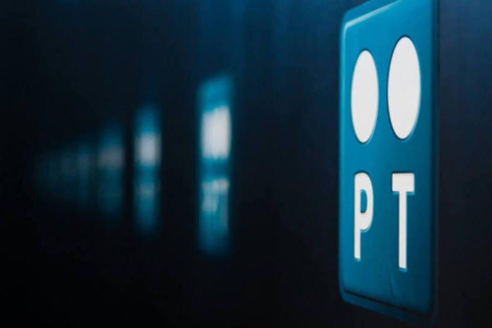 Logo da Portugal Telecom em um sala do novo data center da companhia em Covilha
