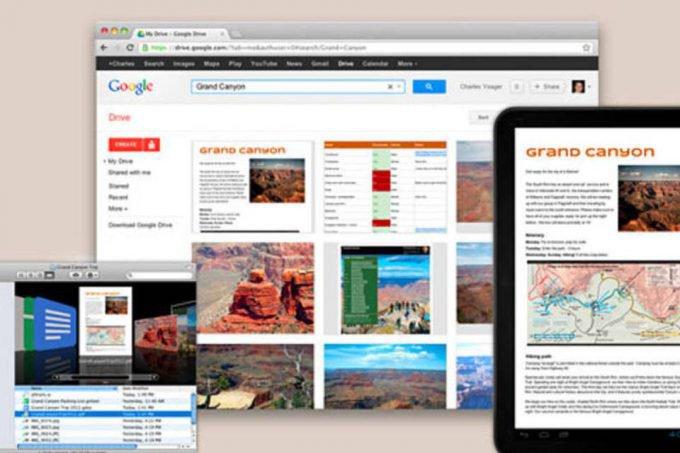 Telas do Google Drive
