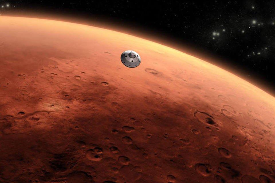 Aeronave se aproxima da atmosfera de Marte