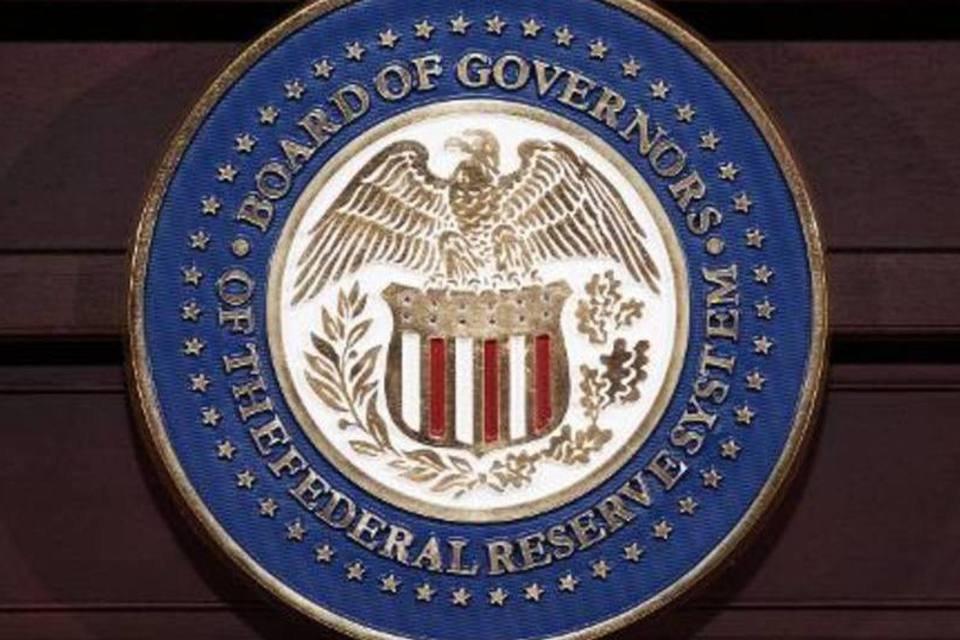 Logo do Federal Reserve é visto em Washington, DC