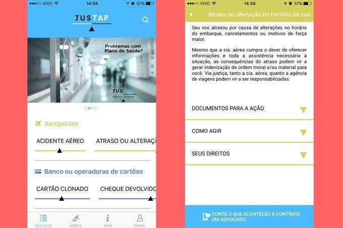 Tela do aplicativo Justap