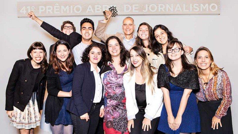 Parte da equipe de EXAME.com na entrega do Prêmio Abril de Jornalismo