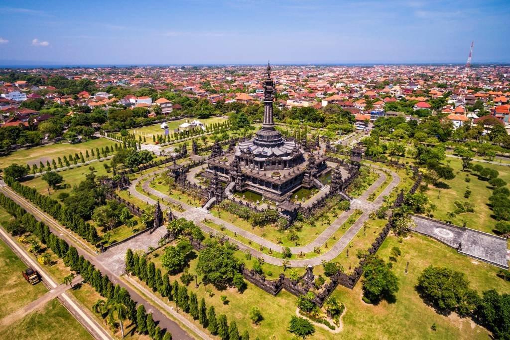 Aerial View of Bajra Sandhi Monument in Denpasar, Bali, Indonesia