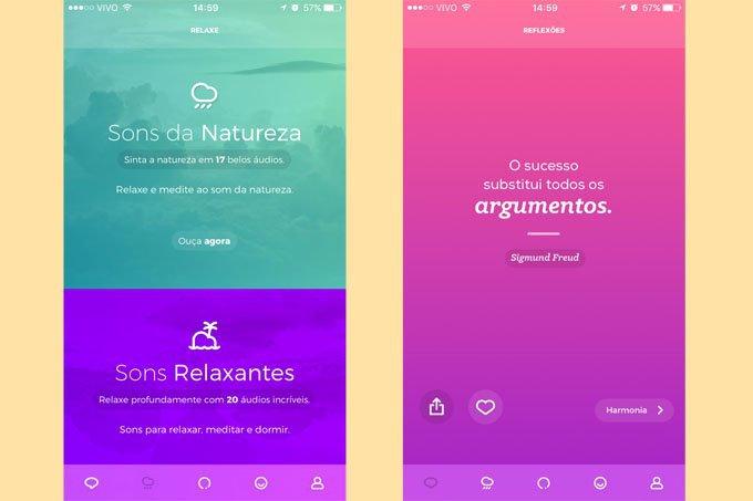 Telas do aplicativo Zen