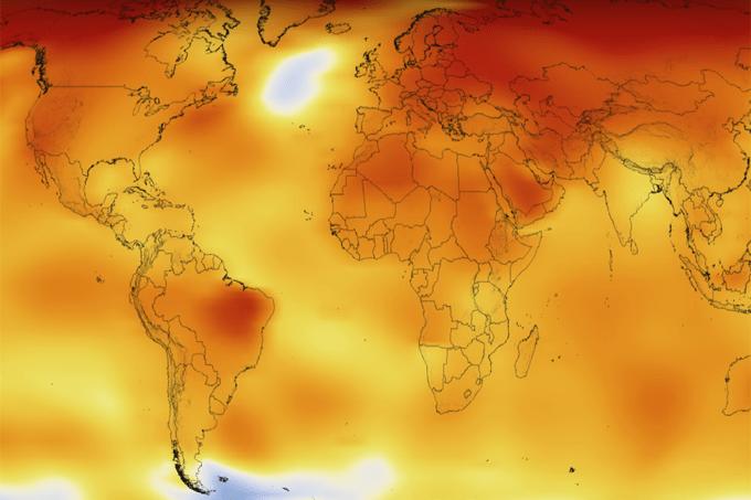 Aquecimento global em vídeo publicado pela Nasa