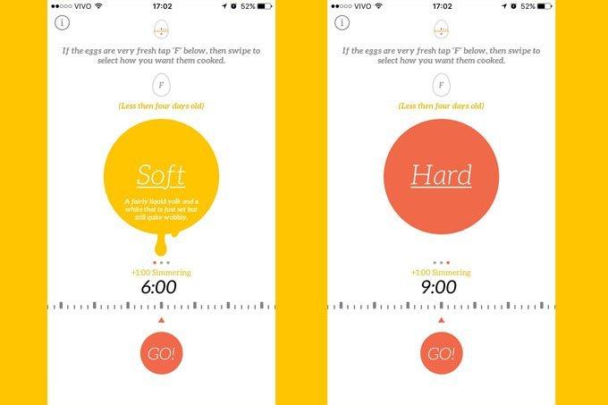 Telas do app Egg Timer