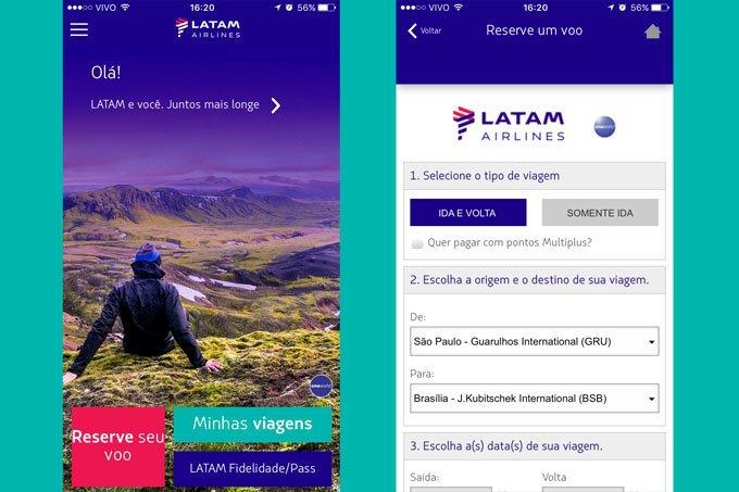 Telas do app Latam