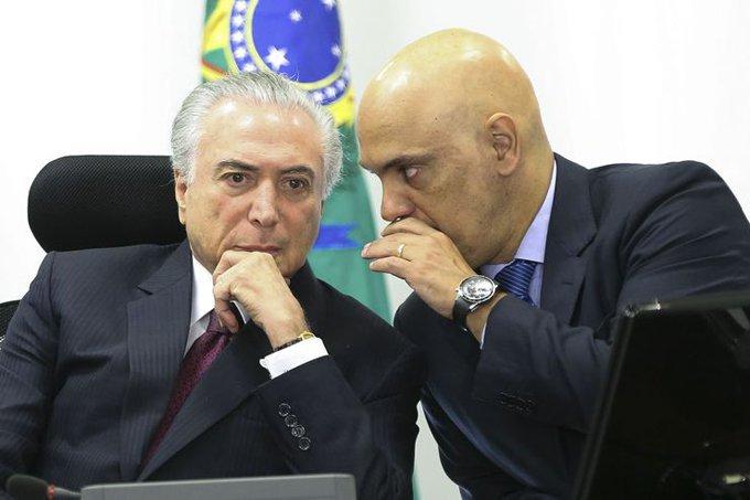 O presidente Michel Temer e o ministro da Justiça, Alexandre de Moraes