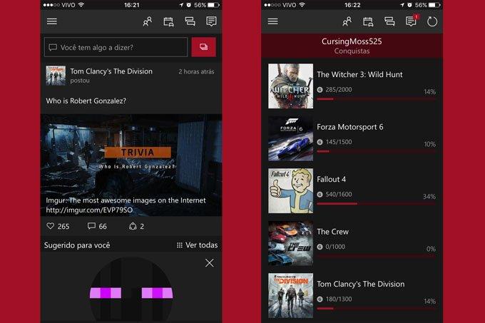 Telas do app Xbox