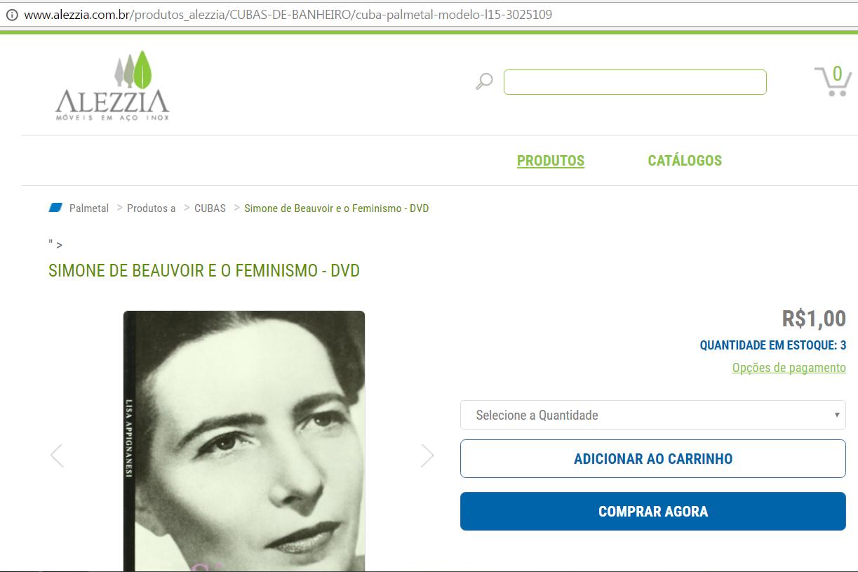 Site da Alezzia, hackeado, exibe DVD sobre Simone de Beauvoir e o feminismo à venda