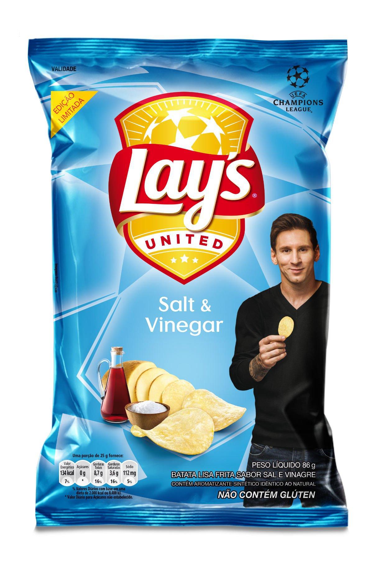 Lay's Salt & Vinegar: sabor chega ao Brasil em campanha com Lionel Messi e UEFA