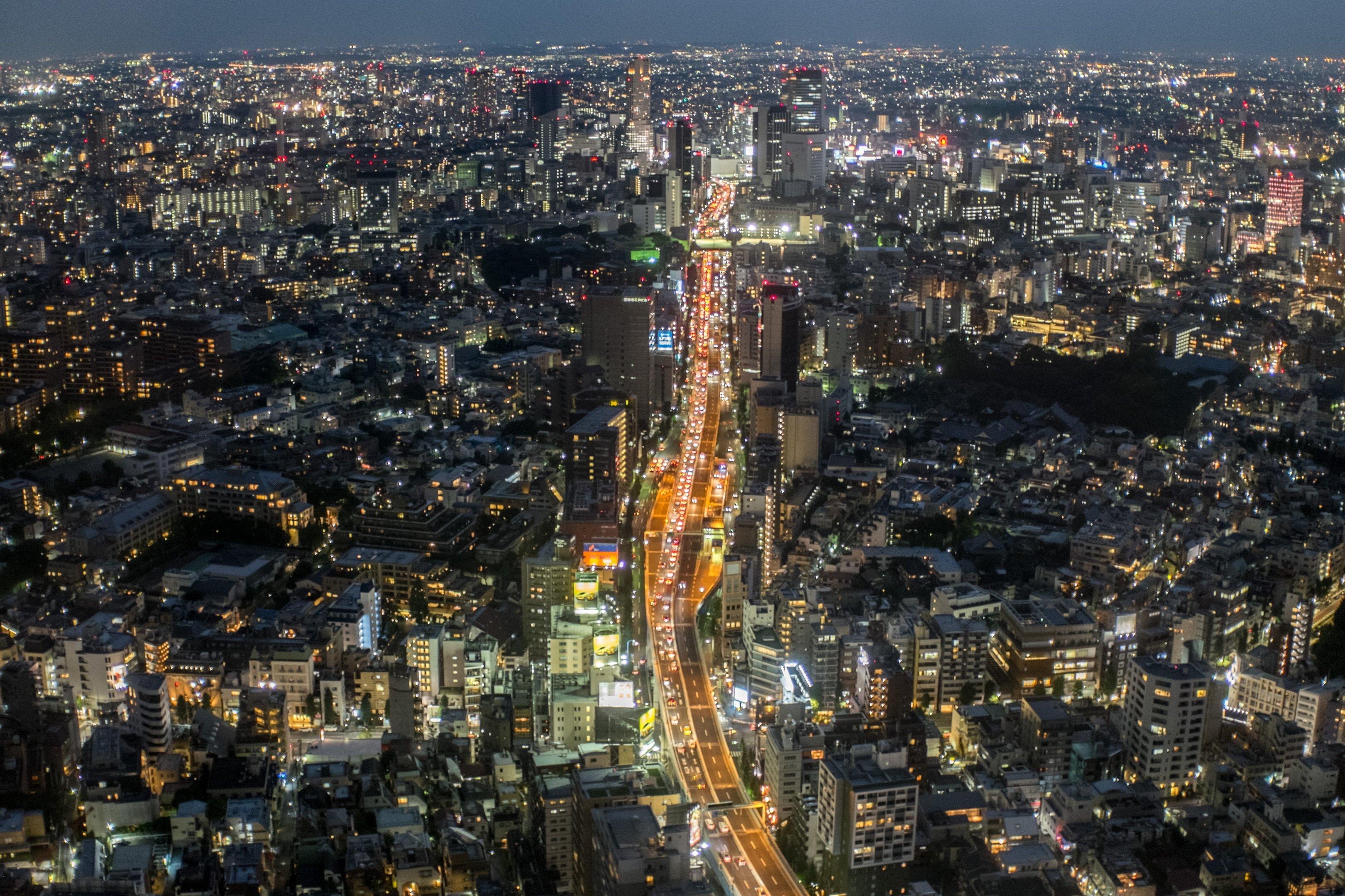 Vista da Torre Mori da cidade de Tóquio, no Japão, dia 21/09/2015