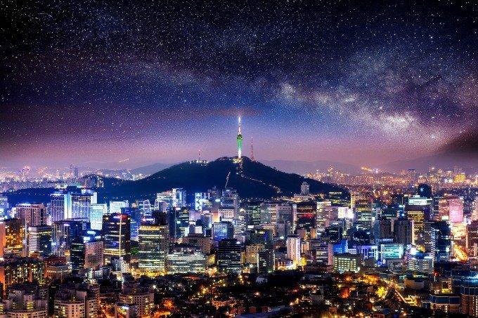 Vista de Seul à noite