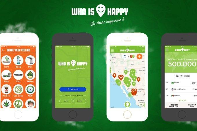 Telas do aplicativo Who is Happy