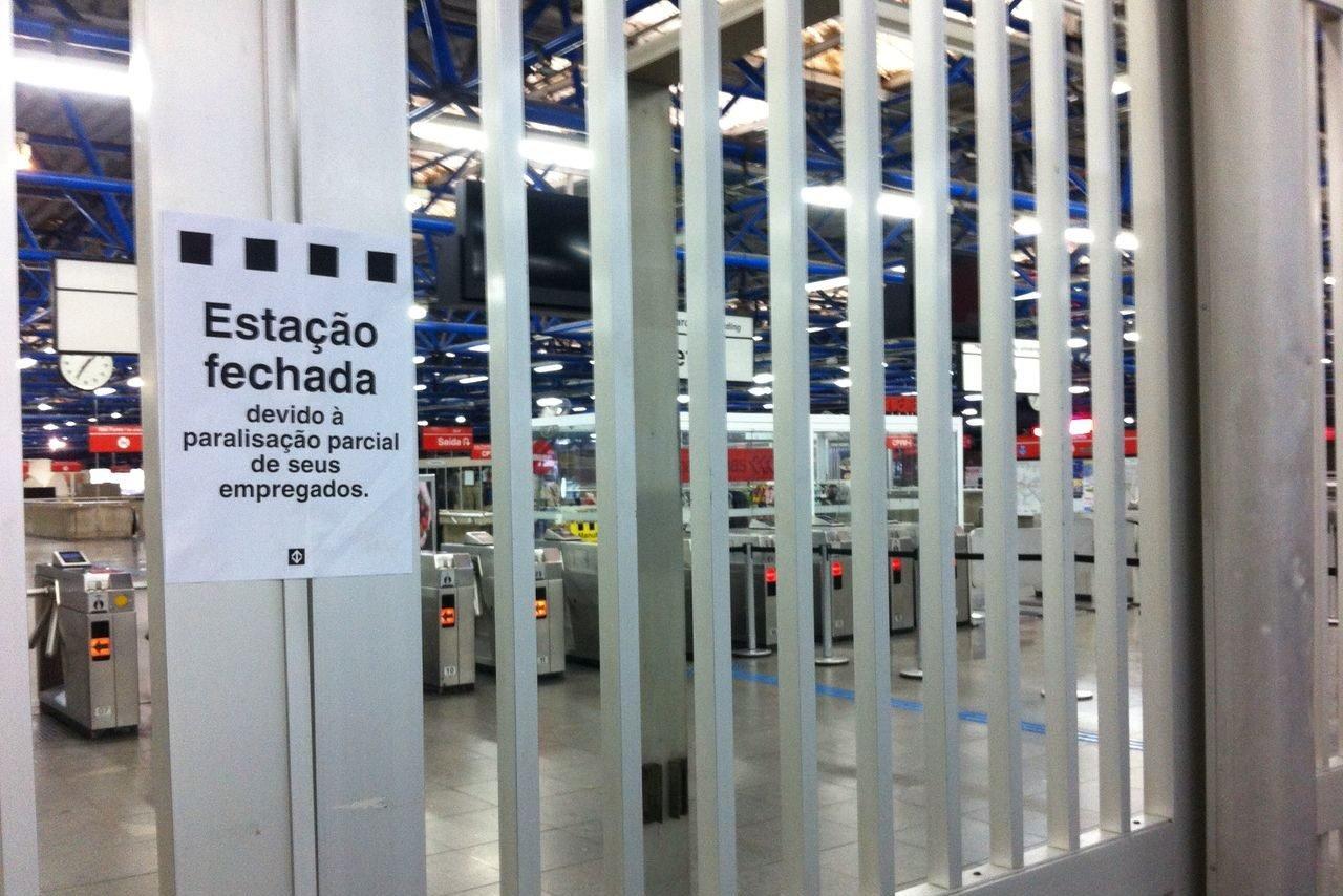 Greve geral: estação Barra Funda fechada