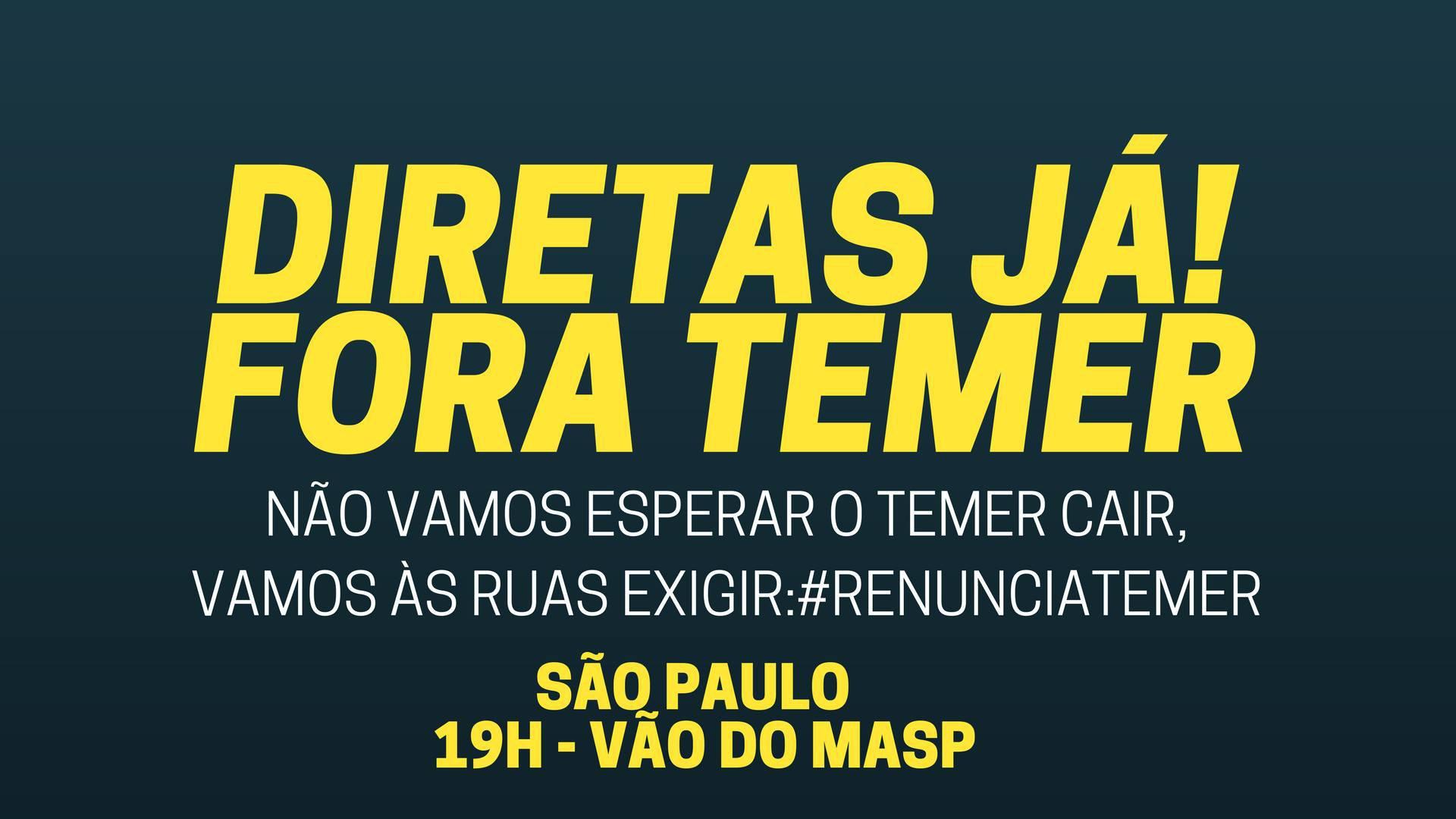 Jornalistas Livres e Mídia Ninja convocam ato contra Temer em São Paulo - 18/05/2017