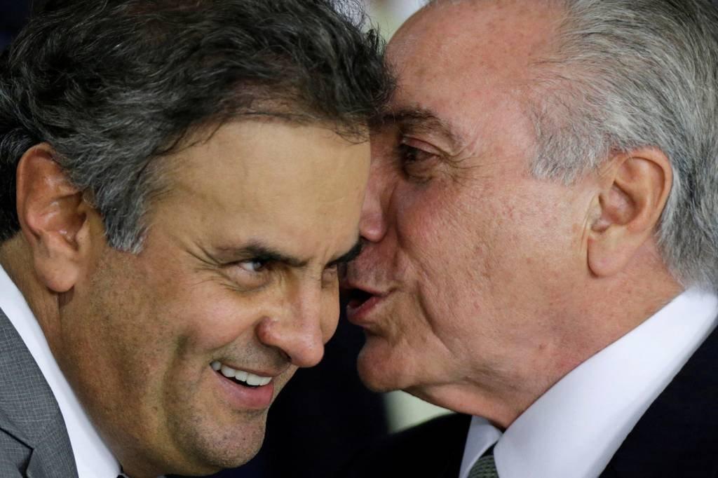 Aécio Neves e Michel Temer: bolsa em crise após denúncias no âmbito da Lava Jato