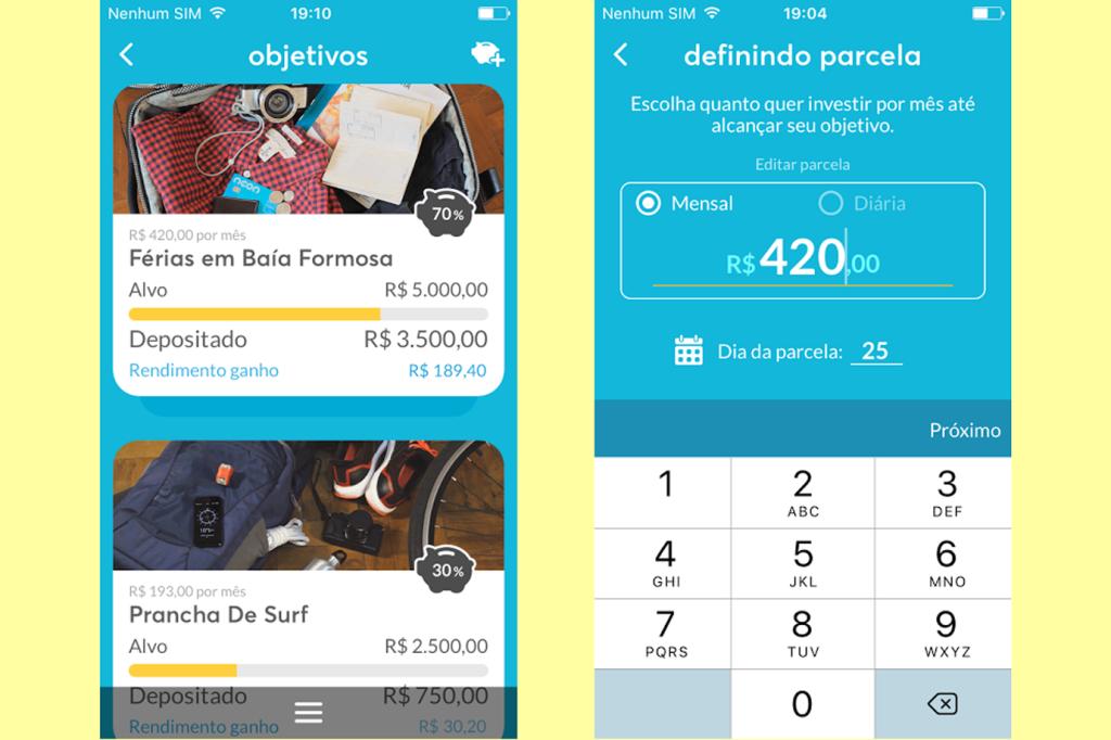Telas do recurso Objetivos do app do banco Neon