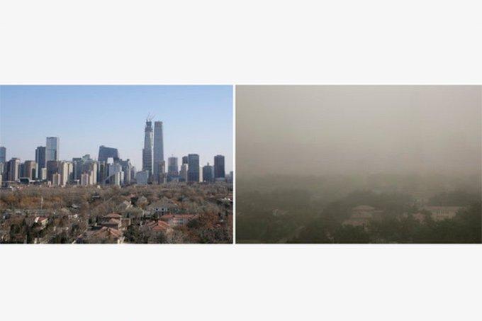 Tempestade de areia aumenta poluição na China em 04.05.2017