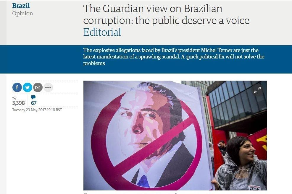 The Guardian faz editorial defendendo eleições diretas no Brasil