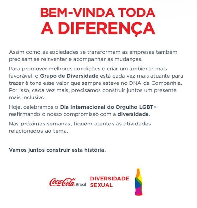 Carta interna da Coca-Cola: mensagem no Dia do Orgulho LGBT