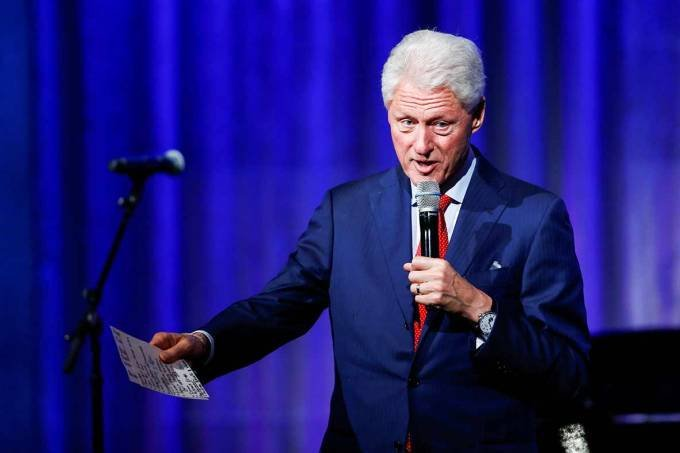 Former U.S. President Bill Clinton speaks to guests during the Clinton Global Citizen Award in New York