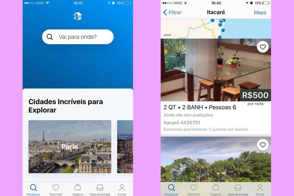 Telas do aplicativo AlugueTemporada