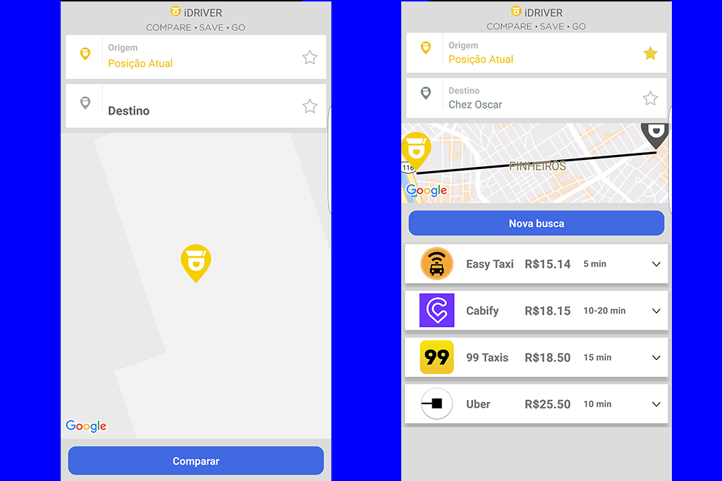 Telas do aplicativo iDriver
