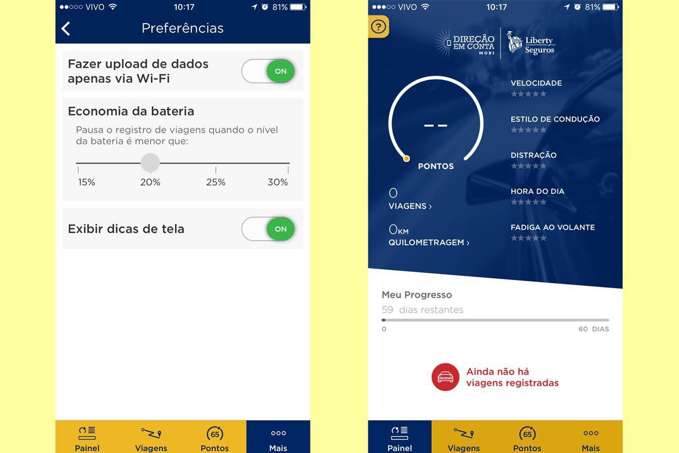 Telas do aplicativo Direção em conta