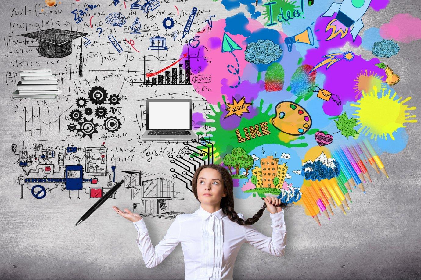 Empreendedora com diversas ideias; inovação, ideia de negócio, empreendedorismo, projetos, planejamento