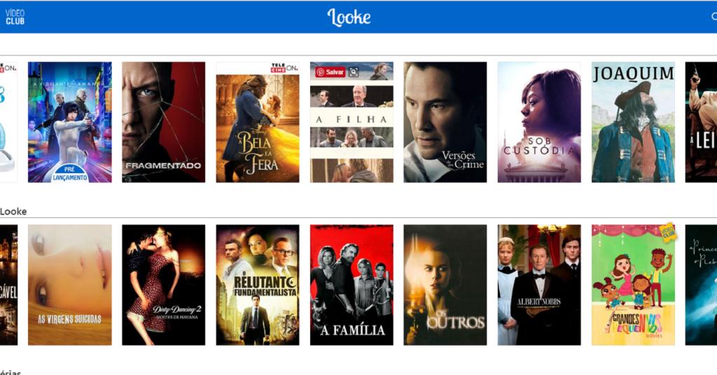 A plataforma Looke, que oferece filmes pela internet