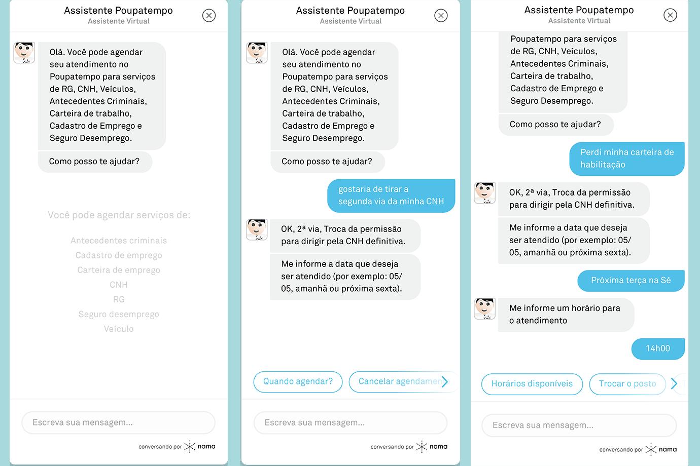 Tela de reprodução do chatbot da Nama