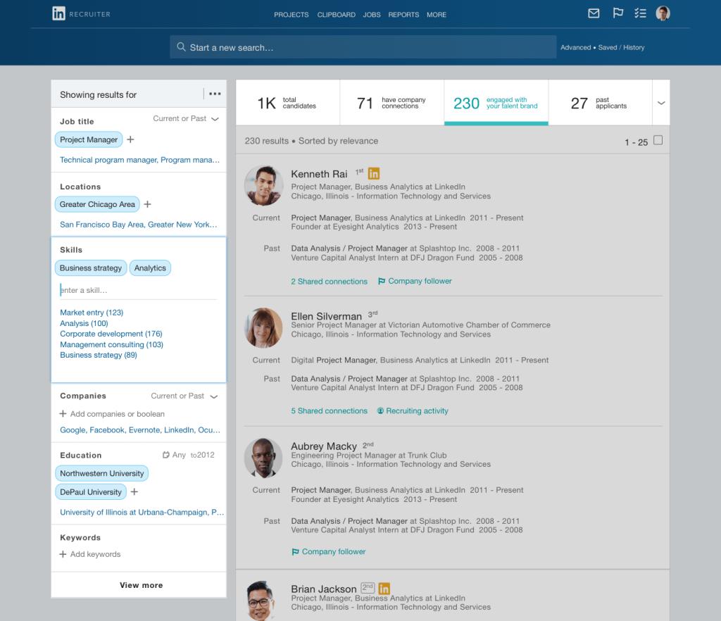 Tela de busca por candidato no LinkedIn