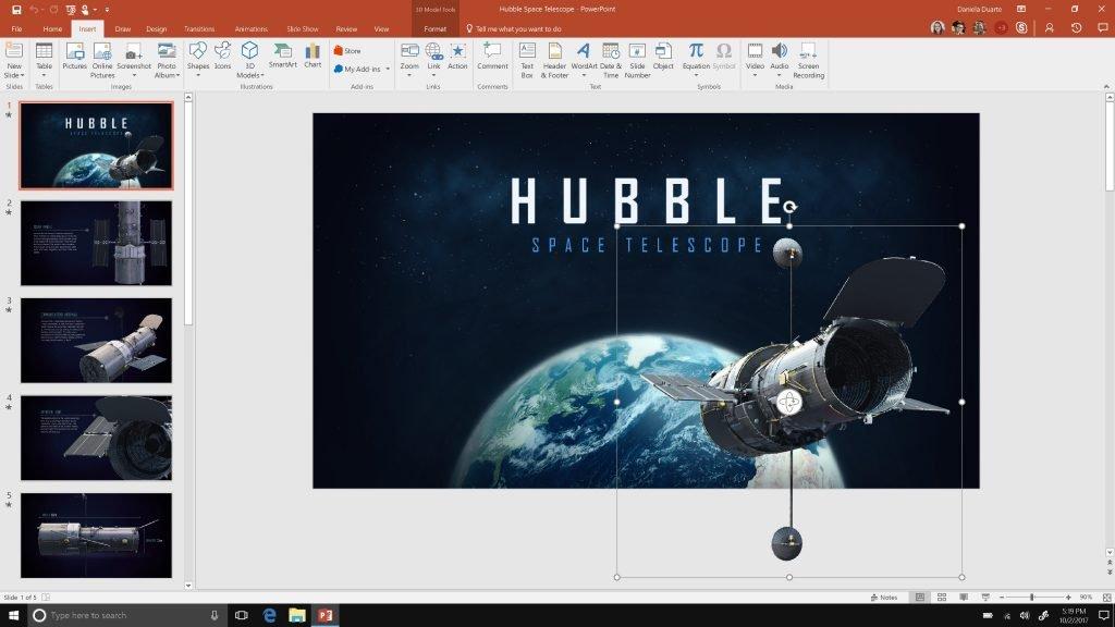 Forma 3D sendo usada em uma apresentação do PowerPoint