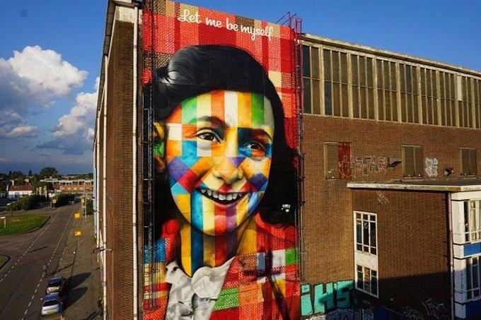 Painel Anne Frank em Amsterdã