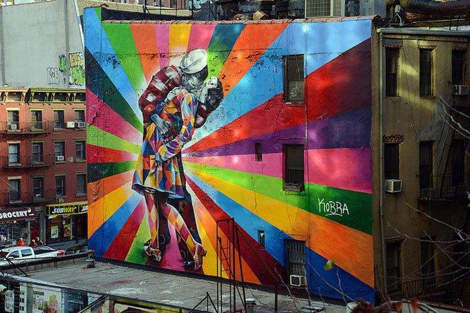 O Beijo, na High Line, em Nova York, EUA