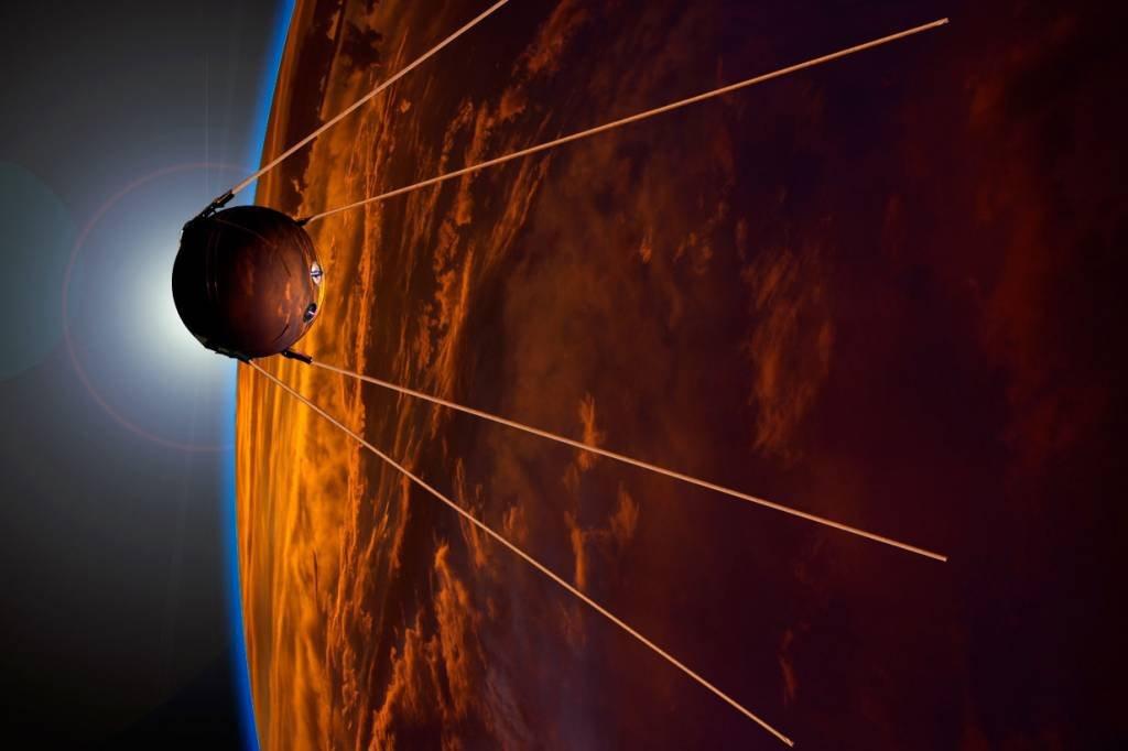 Arte representando o satélite Sputnik