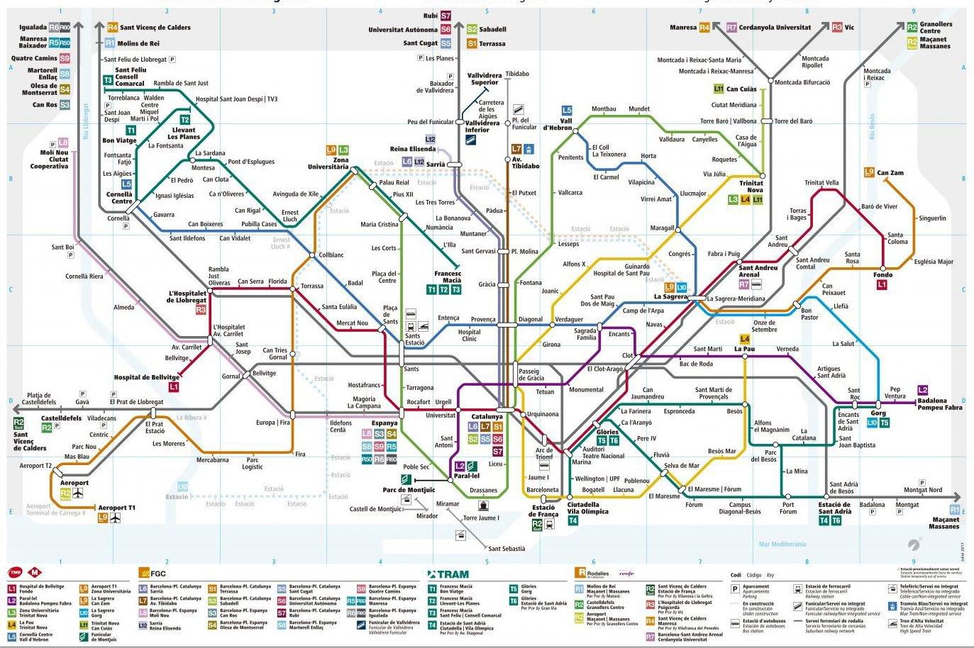 Mapa da linha ferroviária de Barcelona, na Catalunha