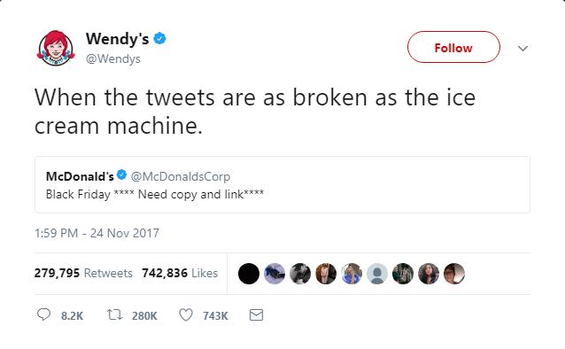 Wendy's: resposta no Twitter após erro do McDonald's