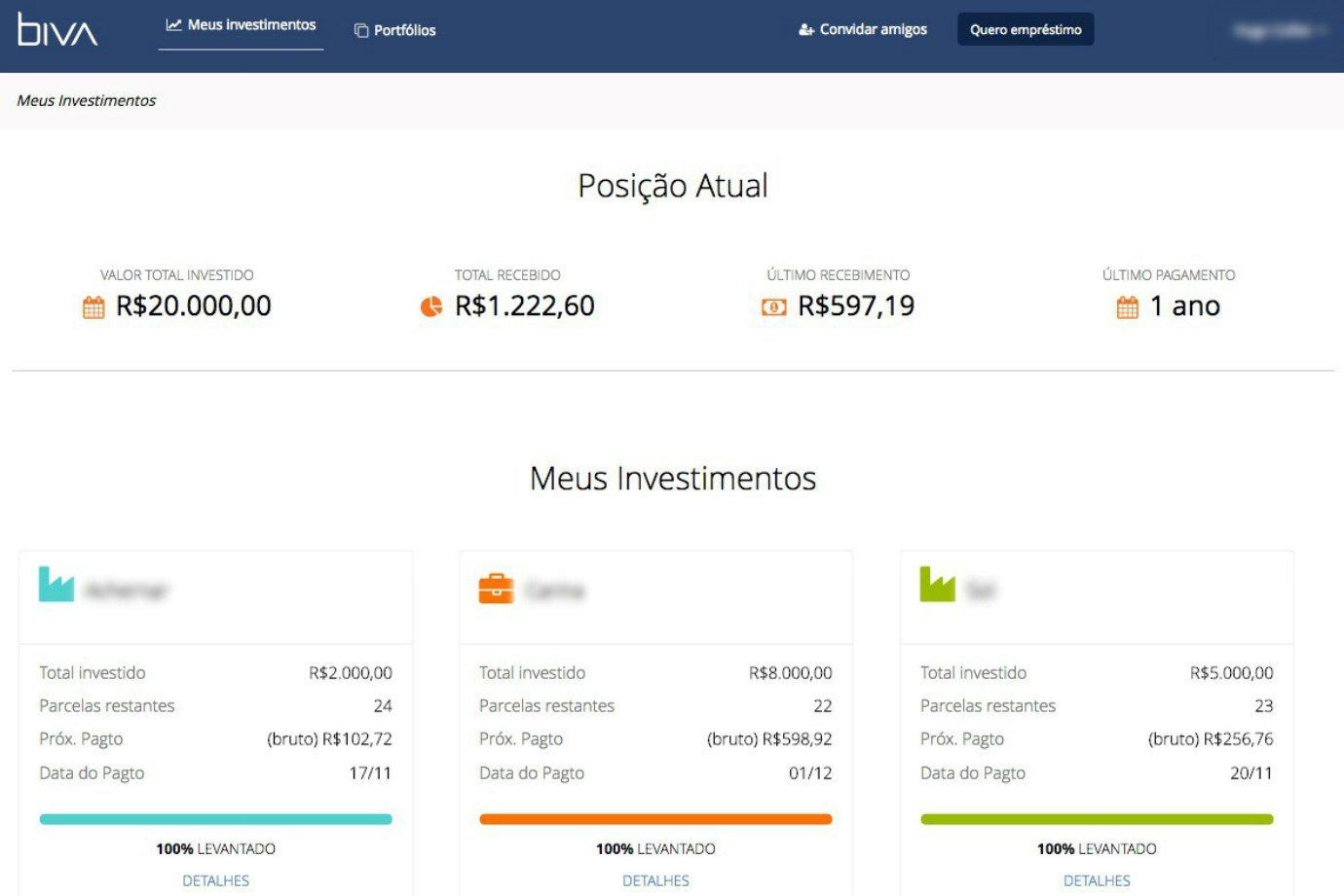Tela de reprodução da Biva, no perfil de investidor